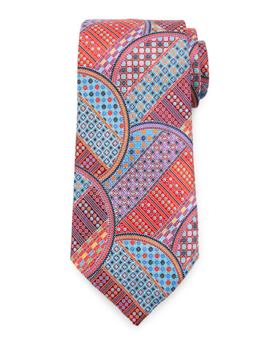 Quindici Geometric Circle Tie, Red