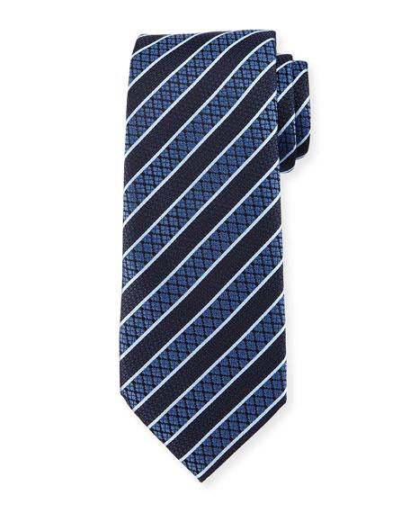 Textured Grand Striped Silk Tie, Blue