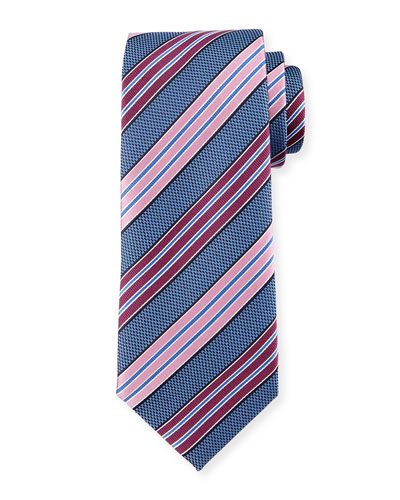 Bold-Striped Textured Silk Tie, Blue
