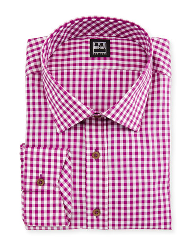 Gingham Check Dress Shirt, Magenta