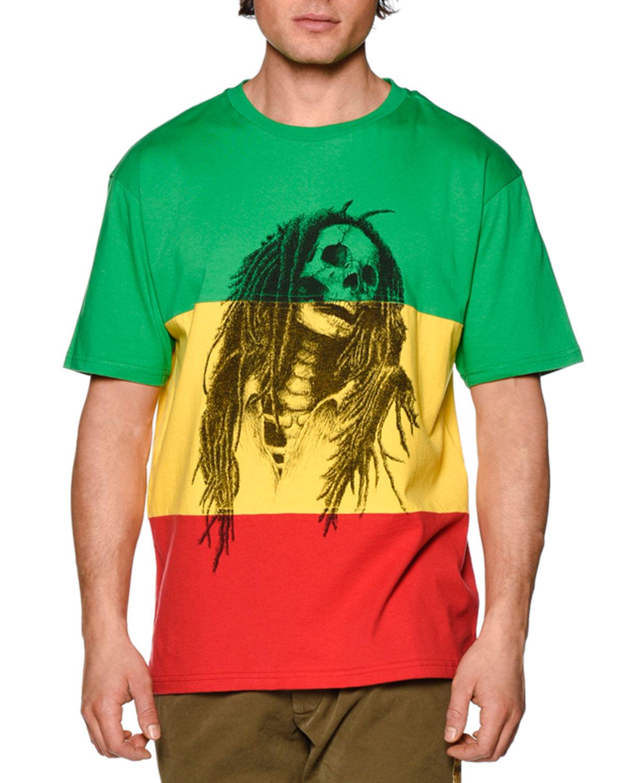 3b447b38c988 Palm Angels Colorblock Skull-Print T-Shirt