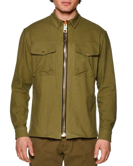 Maxi Zip-Up Military Jacket, Military Green