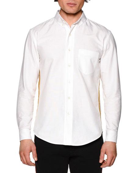 Palm Angels Honor Oxford Shirt w/Metallic Stripe, White