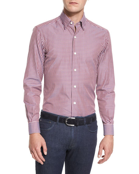Ermenegildo Zegna Check Long-Sleeve Sport Shirt, High-Performance