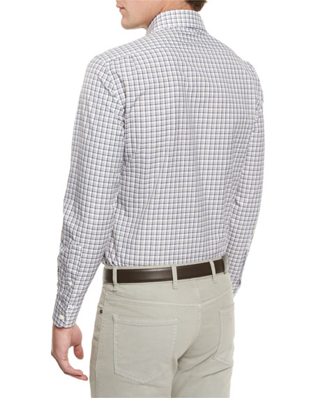 Check Long-Sleeve Sport Shirt, Blue Pattern