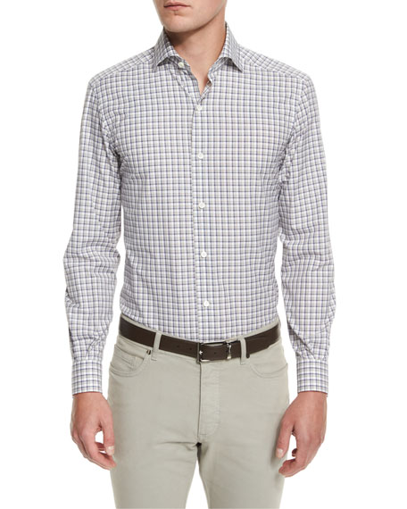 Ermenegildo Zegna Check Long-Sleeve Sport Shirt, Blue Pattern