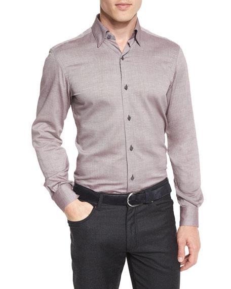 Ermenegildo Zegna Baby Flannel Long-Sleeve Sport Shirt, Red