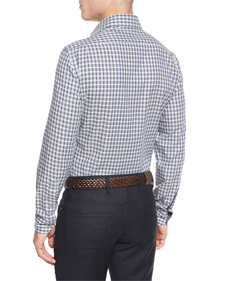 Grid-Check Long-Sleeve Sport Shirt, Blue Pattern