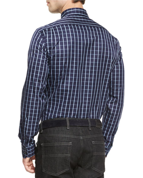 Windowpane Long-Sleeve Sport Shirt, Navy