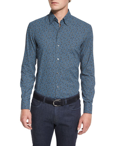 Ermenegildo Zegna Floral-Print Long-Sleeve Sport Shirt, Blue