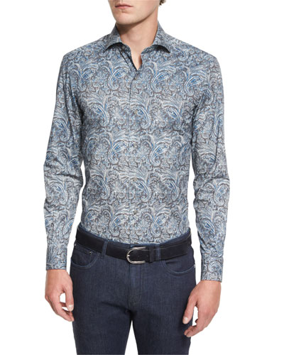 Paisley-Print Long-Sleeve Sport Shirt, Teal
