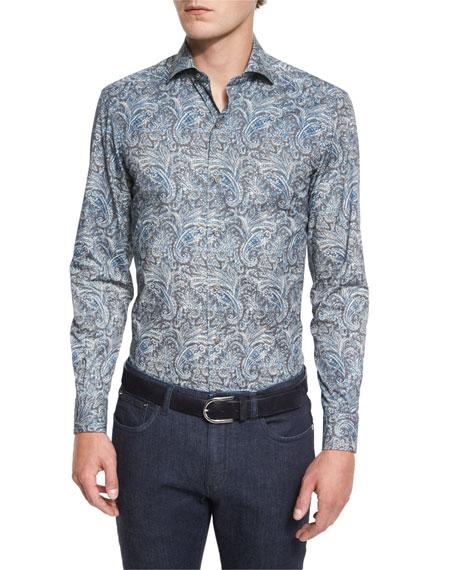 Ermenegildo Zegna Paisley-Print Long-Sleeve Sport Shirt, Teal