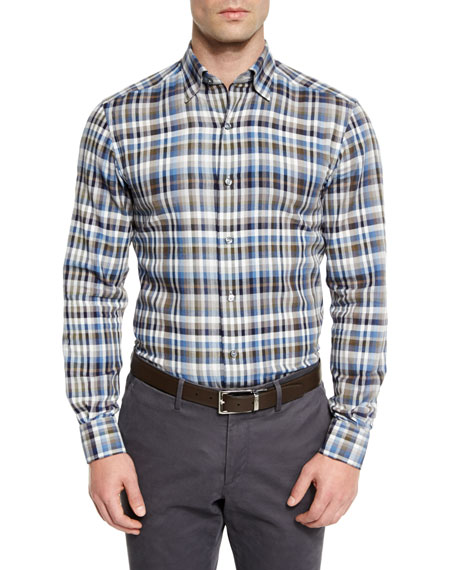 Ermenegildo Zegna Plaid Long-Sleeve Sport Shirt, Blue Pattern