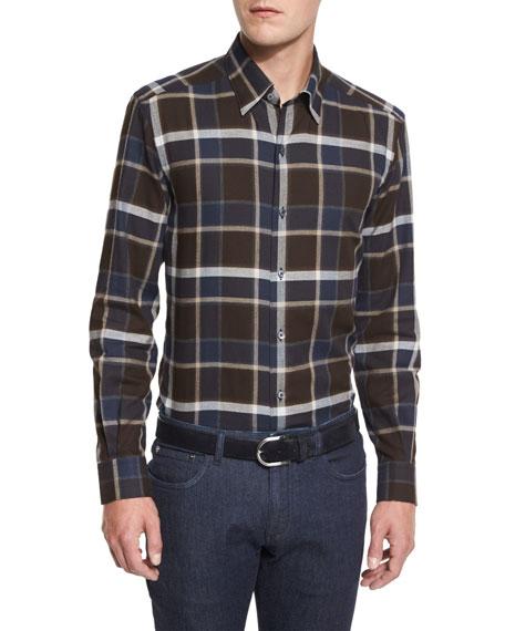Ermenegildo Zegna Large-Plaid Long-Sleeve Sport Shirt, Brown