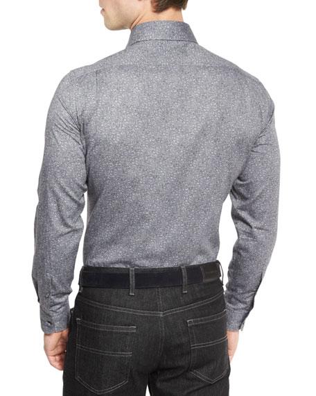 Floral-Print Long-Sleeve Sport Shirt, Gray