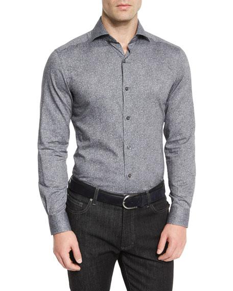 Ermenegildo Zegna Floral-Print Long-Sleeve Sport Shirt, Gray