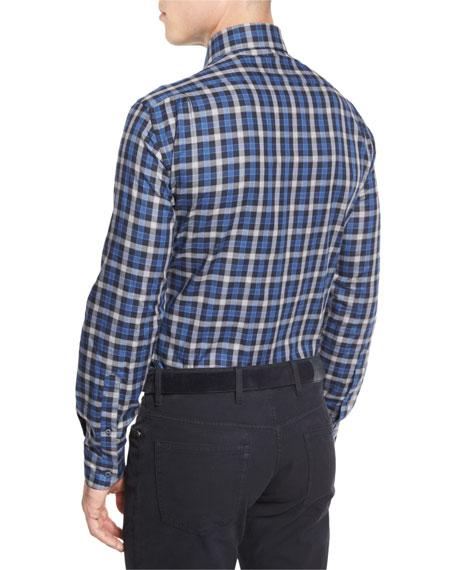Plaid Long-Sleeve Sport Shirt, Navy