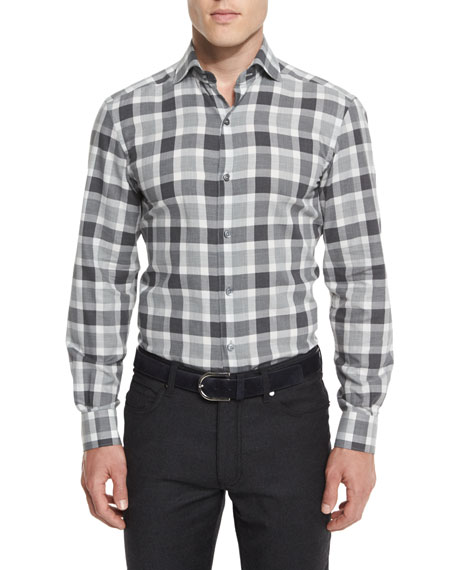 Large-Check Long-Sleeve Sport Shirt, Gray