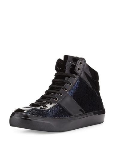 Belgravia Paillettes High-Top Sneaker, Blue