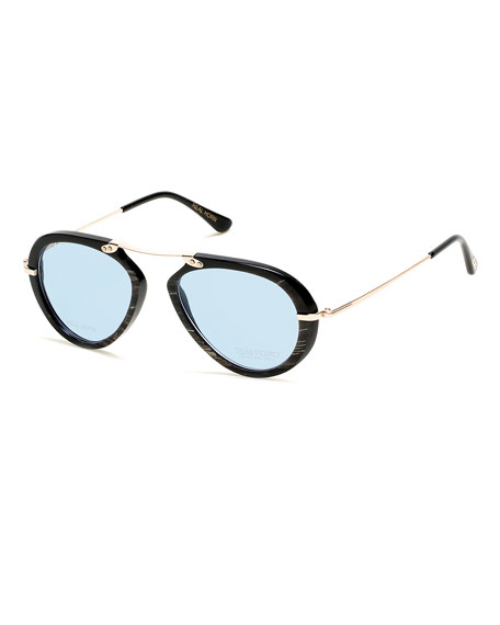 tom fordtom n11 private collection real horn aviator frames brown