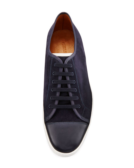 Levah Suede Low-Top Sneaker, Navy