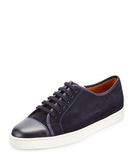 John Lobb Levah Suede Low-Top Sneaker, Navy