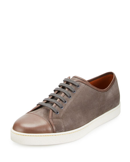 Levah Suede Low-Top Sneaker, Gray