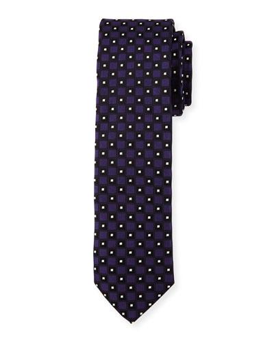 Neat Box-Pattern Silk Tie, Purple