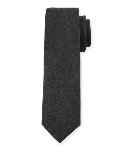 Melange Wool-Blend Tie, Gray