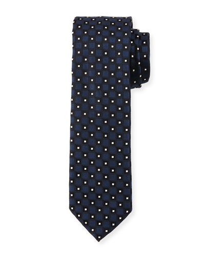 Neat Box-Pattern Silk Tie, Navy