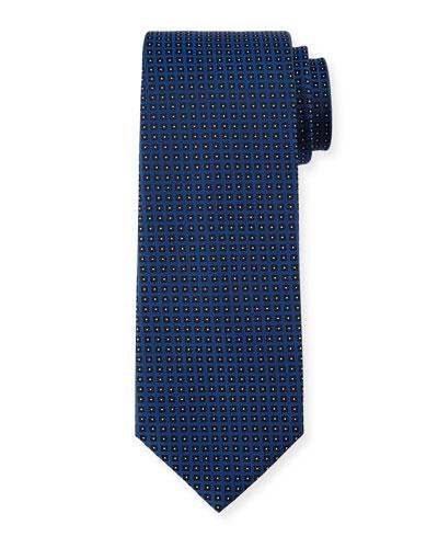 Geo-Dot Silk Tie, Blue