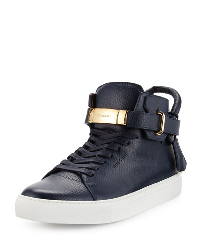 100mm Leather High-Top Sneaker
