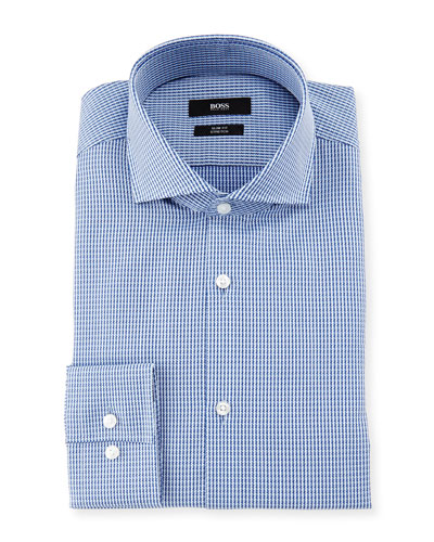 Jason Slim-Fit Houndstooth Stretch Dress Shirt, Blue