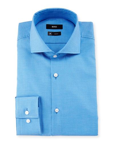 Jason Slim-Fit Pindot Dress Shirt, Blue