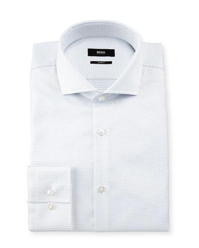 Jason Slim-Fit Dot-Print Dress Shirt, White/Blue