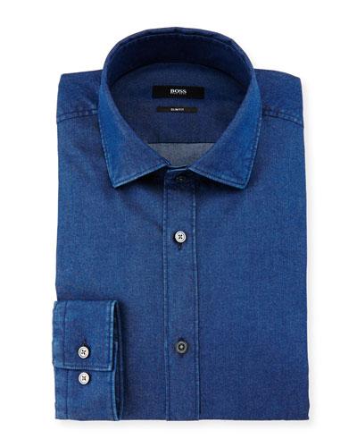 Isaak Slim-Fit Denim Dress Shirt