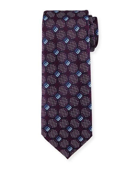 Deco Circles Woven Silk Tie, Purple