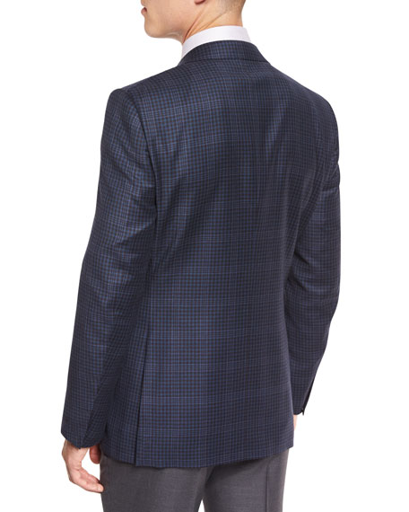 Overplaid Two-Button Sport Coat, Blue