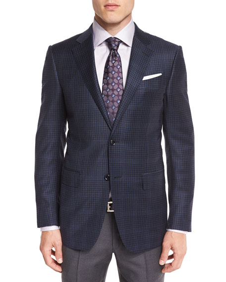 Ermenegildo Zegna Overplaid Two-Button Sport Coat, Blue