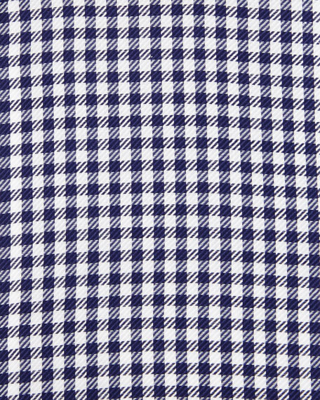 Gingham Check Twill Dress Shirt, Navy
