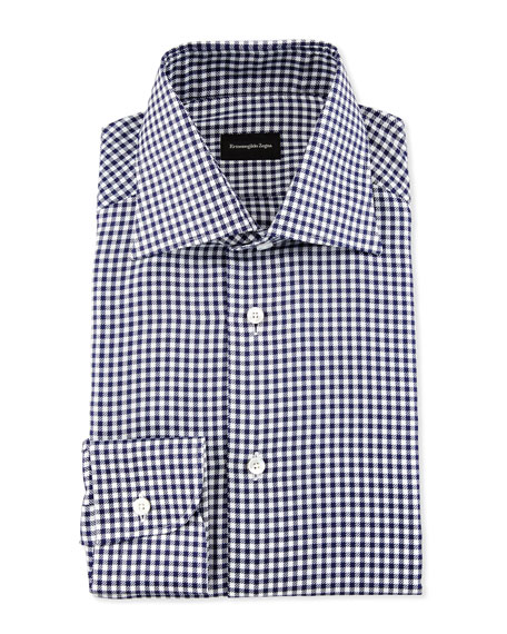 Gingham Check Twill Dress Shirt, Navy