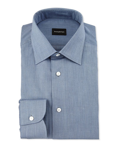 Solid Flannel Dress Shirt, Blue