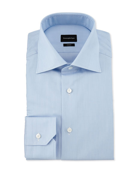 Ermenegildo Zegna Slim-Fit Solid Trofeo Dress Shirt, Blue