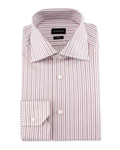 Ermenegildo Zegna Slim-Fit Striped Trofeo Dress Shirt, Pink