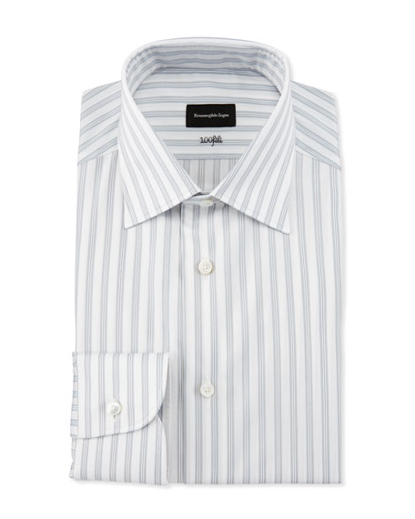 Ermenegildo Zegna Bold Stripe Dress Shirt, White