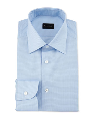 Micro-Houndstooth Dress Shirt, Light Blue