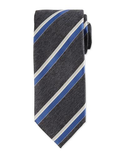 Woven Herringbone Grenadine Striped Silk Tie