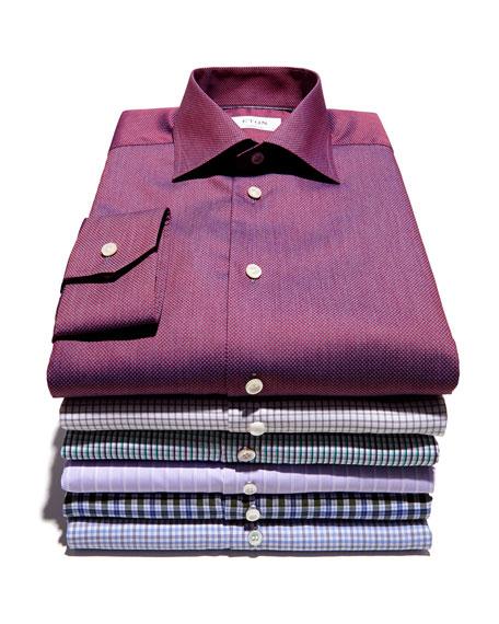 Satin-Stripe French-Cuff Dress Shirt, Purple