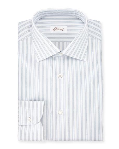 Oxford-Stripe Dress Shirt, White