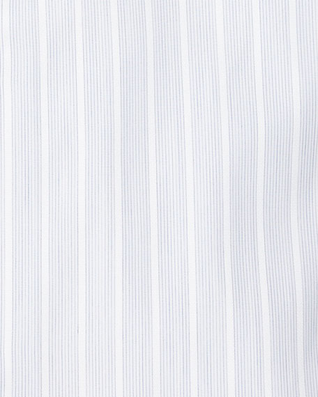 Satin-Stripe French-Cuff Dress Shirt, White